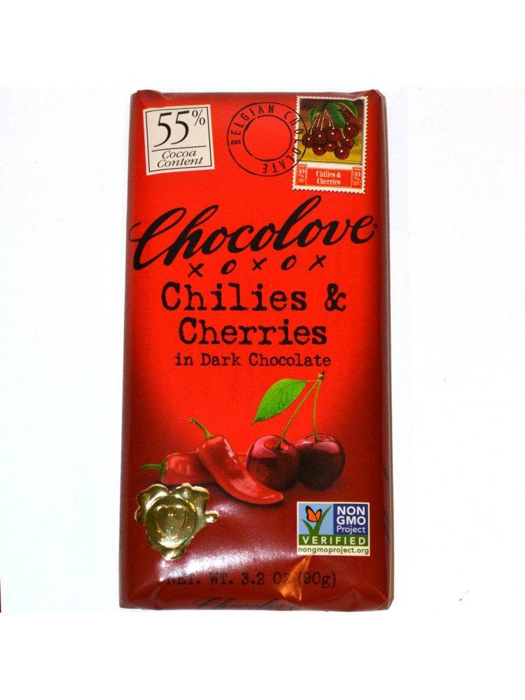 Chocolove Cherries & Chiles Dark Chocolate Bar, Boulder