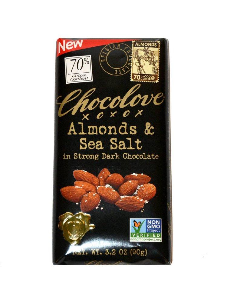 Chocolove Almonds & Sea Salt in Strong Dark Chocolate Bar, Boulder