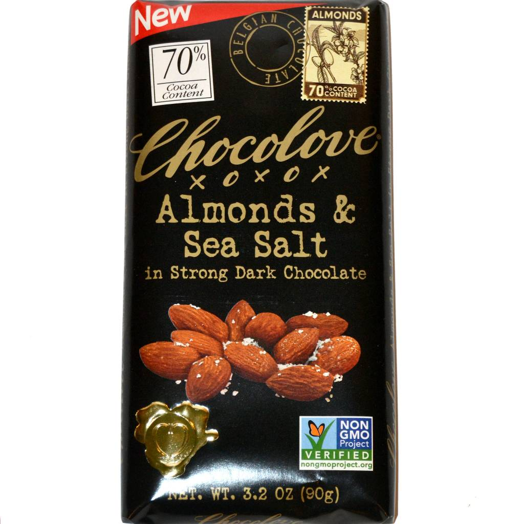 Chocolove Almonds & Sea Salt in Strong Dark Chocolate, Boulder