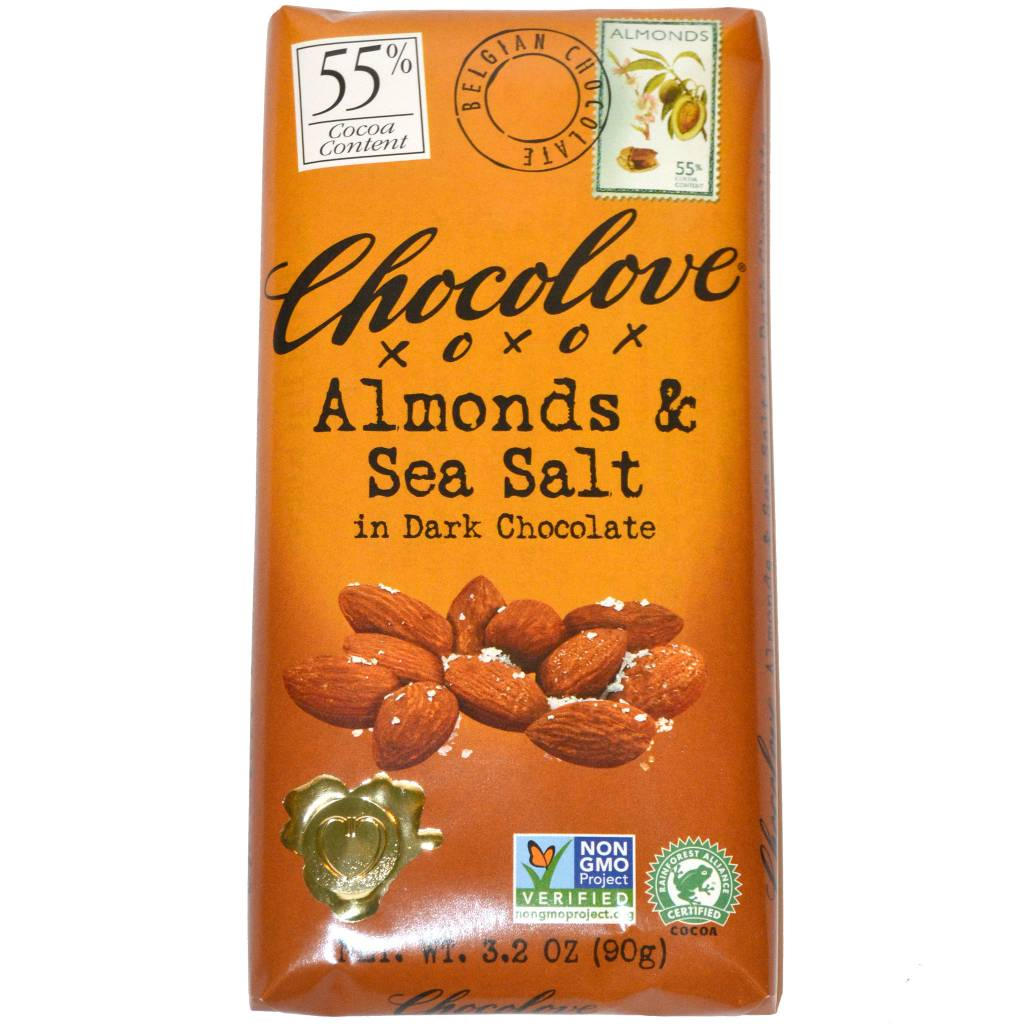 Chocolove Almonds & Sea Salt in Dark Chocolate Bar, Boulder