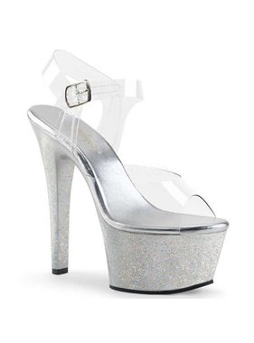 Pleaser USA ASPIRE-608MG Platform Ankle Strap Sandal w/ Mini Holographic Glitter