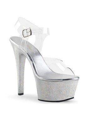 Pleaser USA ASPIRE-608MG Platform Ankle Strap Sandal w/ Mini Holographic Glitter