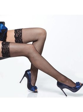 Coquette International Lingerie Coquette Fishnet Thigh High Stockings With Lace Top