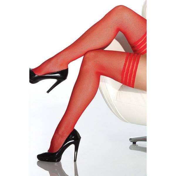 Coquette International Lingerie Fishnet Thigh High Stockings w/ Triple Elastic Top