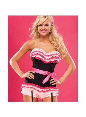 Coquette International Lingerie Pink & Black Ruffled Corset