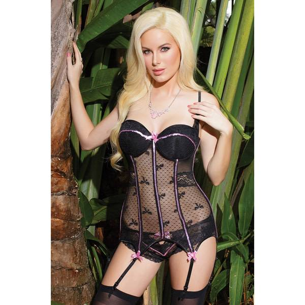 Coquette International Lingerie Polka Dots and Bows Black Mesh Bustier