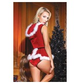 Coquette International Lingerie Coquette Stretch Velvet Hooded Santa Teddy w/ Removable Skirt (One Size)