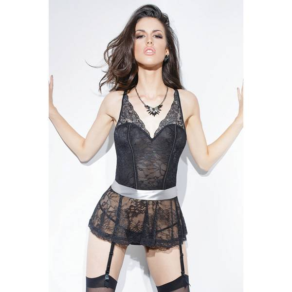 Coquette International Lingerie Lace Peplum Corset with Removable Ribbon Belt Restraint