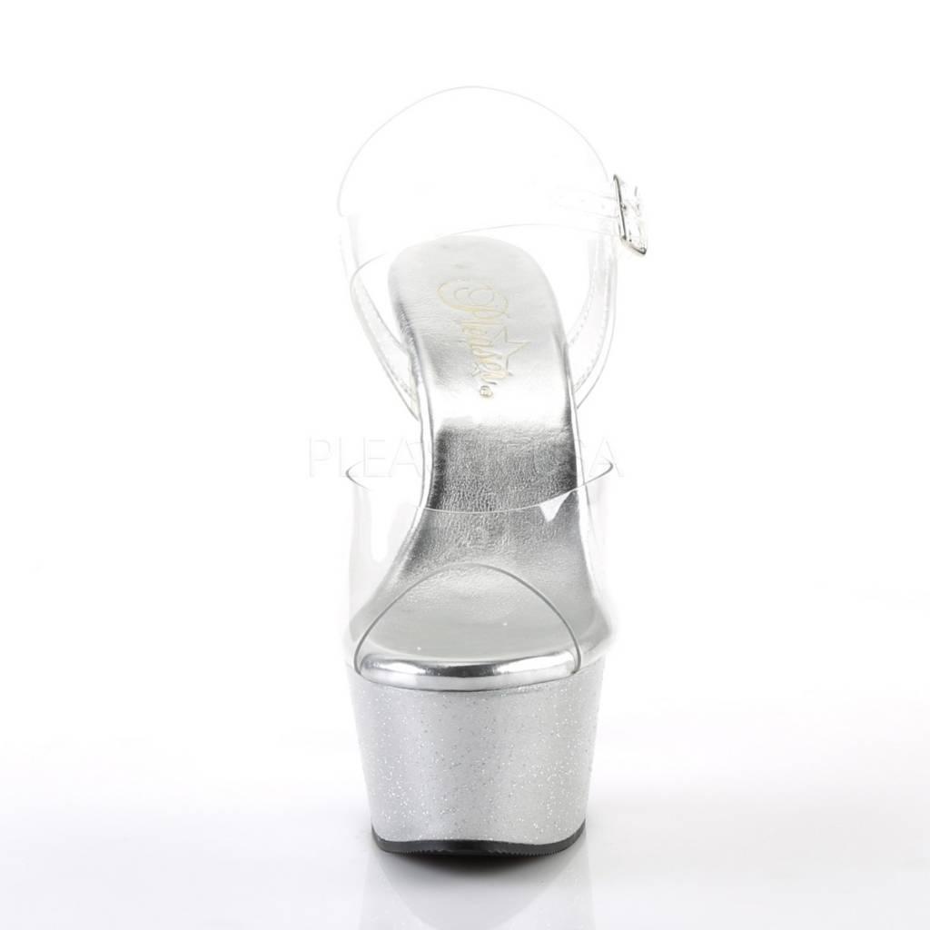 Pleaser USA Pleaser Aspire-608MG Platform Ankle Strap Sandal w/ Mini Holographic Glitters