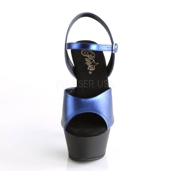 Pleaser USA KISS-209MMET Platform Ankle Strap Sandal (Blue)