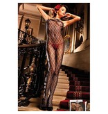 Baci Lingerie Baci Black Ruffled Fleur de Lis Bodystocking (One Size)