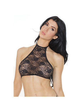 Coquette International Lingerie Coquette Soft Stretch Lace Halter Crop Top (One Size)