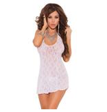 Elegant Moments Lingerie White Halter Lace Mini Dress