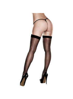 Baci Lingerie Baci Silicone Stay-Up Black Sheer Thigh Highs (One Size)