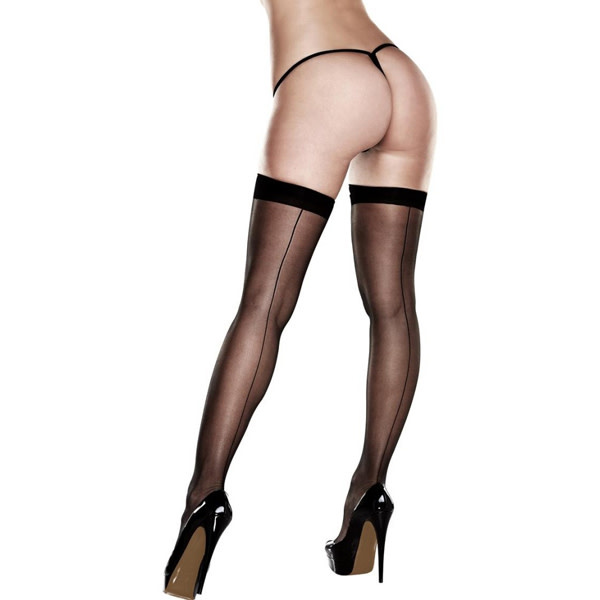 Baci Lingerie Silicone Stay-Up Black Sheer Thigh Highs