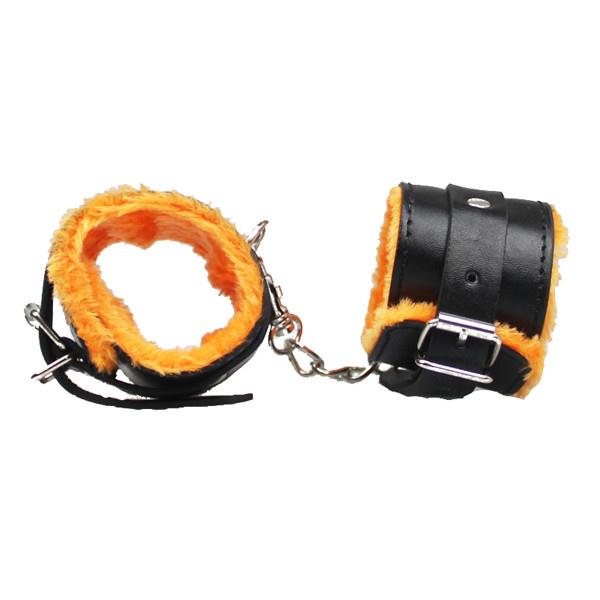 Premium Products PU Leather Cuffs with Orange Fur