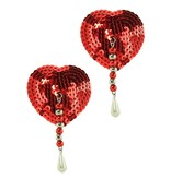 PHS International Red Sequin Beaded Pearl Pasties