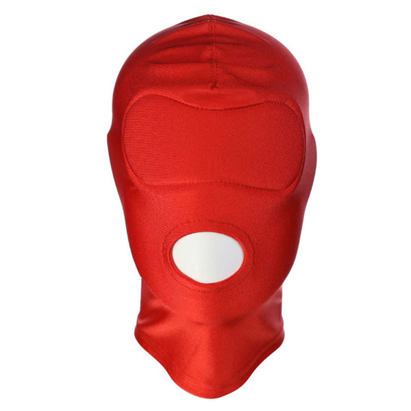 Premium Products Spandex Open Mouth Hood with Built-In Blindfold (Red)