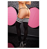 Lapdance Lingerie Black & White Rib Knit Thigh Highs