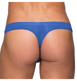 Male Power Seamless Blue Thong with Sheer Pouch