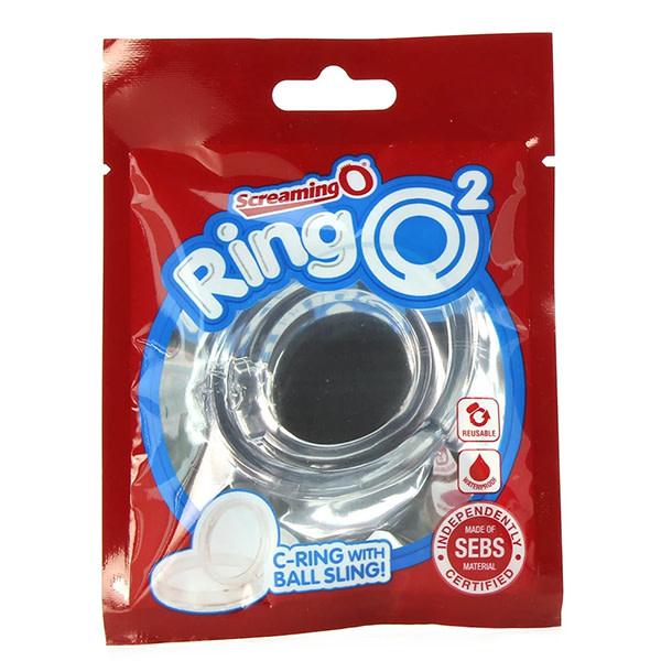 Screaming O RingO 2 Cock Ring with Ball Sling (Clear)