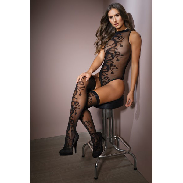 Coquette International Lingerie Girl Meets Swirl Teddy with Stockings