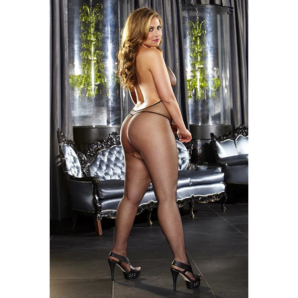 Lapdance Lingerie Deep-V Crotchless Black Bodystocking (One Size)
