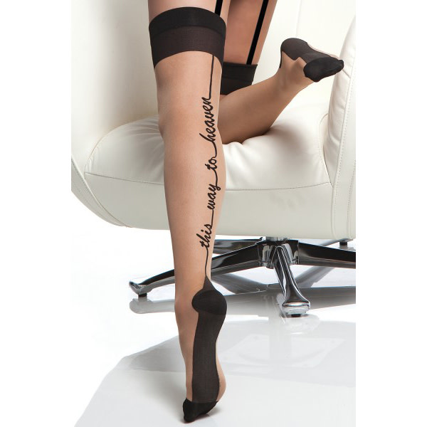 """Coquette International Lingerie Coquette Cuban Heel Thigh High Stockings """"This Way To Heaven"""" (One Size)"""
