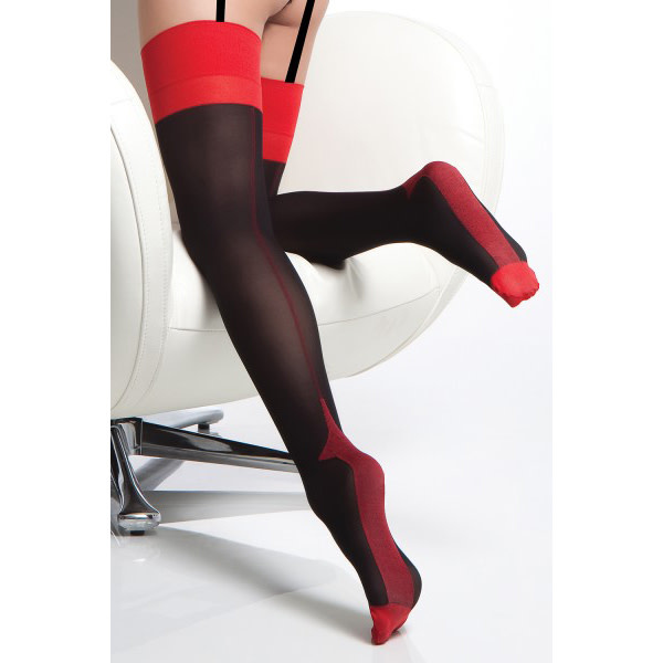 Coquette International Lingerie Opaque Cuban Heel Thigh Highs Black with Red
