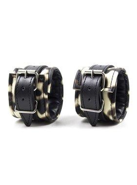 Premium Products Lennox Leopard Print Wrist Cuffs (Tan)