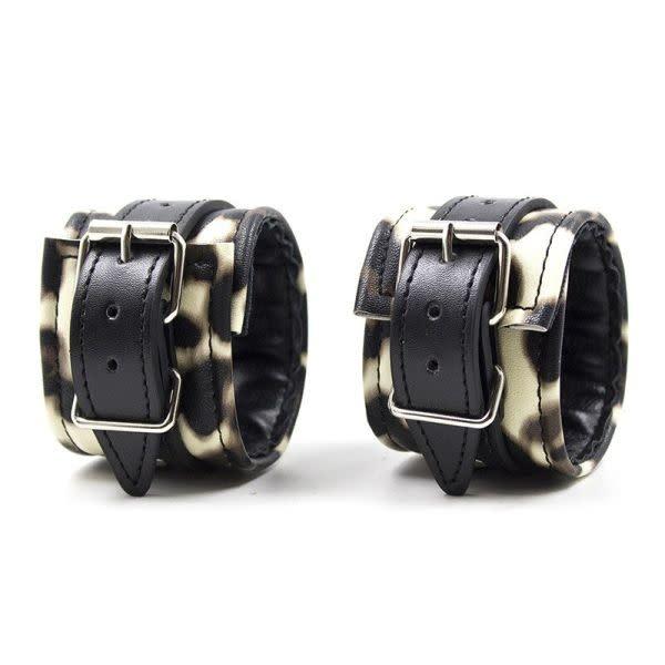 Premium Products Lennox Leopard Print Ankle Cuffs (Tan)