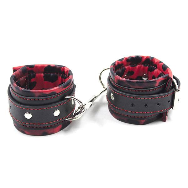 Premium Products Lennox Leopard Print Wrist Cuffs (Red)