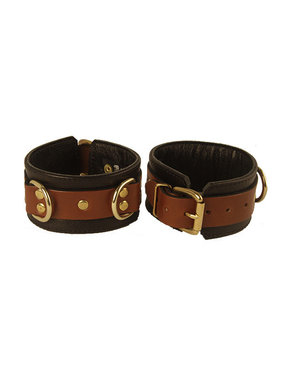 Aslan Leather Inc. Brass & Tan Ankle Cuffs