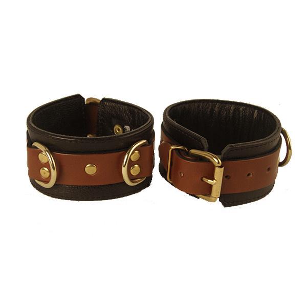 Aslan Leather Inc. Aslan Brass & Tan Ankle Cuffs