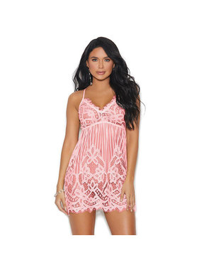 Elegant Moments Lingerie Stripes Over Paris Soft Pink Babydoll
