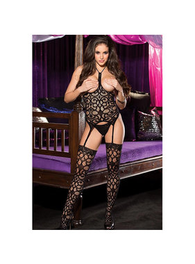 Shirley of Hollywood Open Bust Fishnet Top, G-string and Stockings (One Size)
