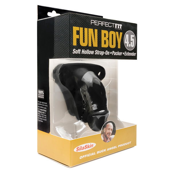"Perfect Fit Brand Perfect Fit Buck Angel Fun Boy Soft Hollow 4.5"" Strap On Packer (Black)"