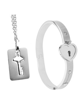 XR Brands Master Series Cuffed Locking Bracelet w/Necklace Key