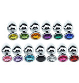 Premium Products Metal Butt Plug with Crystal Diamond End (Assorted Colours)