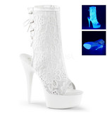 Pleaser USA DELIGHT-1018ML UV/Blacklight Reactive Lace-Up Ankle Boot