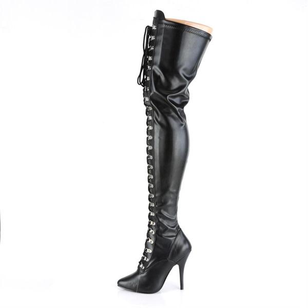 Pleaser USA SEDUCE-3024 Thigh High Boot (Black Stretch PU)
