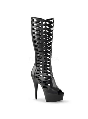 Pleaser USA DELIGHT-600-42 Knee High Cage Boot