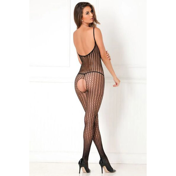 Rene Rofe Lingerie Black Quarter Crochet Net Bodystocking