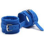 Premium Products Blue PU Leather Handcuffs