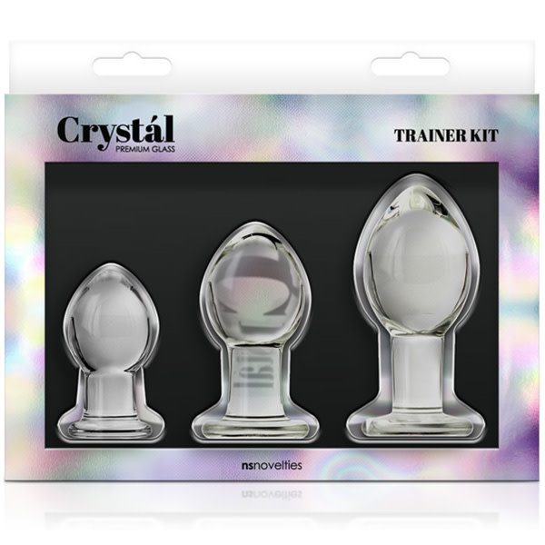 NS Novelties Crystal Premium Glass Anal Trainer Kit (Clear)