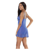 Coquette International Lingerie Coquette Rhinestone Lace-Up Detailed Chemise Blue (One Size)