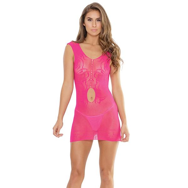 Coquette International Lingerie Coquette Waist Keyhole Fishnet Tank Dress Neon Pink (One Size)