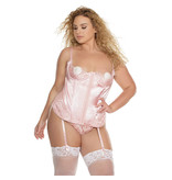 Coquette International Lingerie Rose Dust Satin and Eyelash Lace Demi Cup Bustier