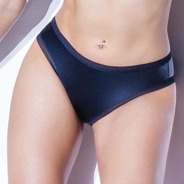 Coquette International Lingerie Wet Look Full Back Panty (Black)