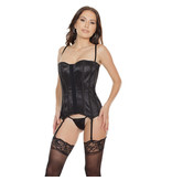 Coquette International Lingerie Fully Boned Lace Over Satin with Back Cord Lace Up